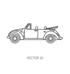 Line icon retro tourism cabriolet auto vector