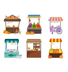 Local markets with foodstuffs flat vector