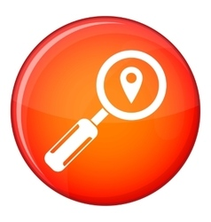 Magnifying glass and location icon flat style vector