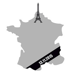 Map of France with black mourning Ribbon Mourning vector