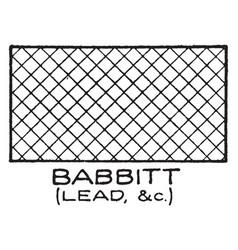 Mechanical drawing cross hatching of babbitt vector