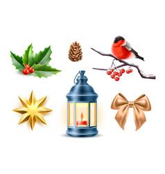 merry christmas realistic symbols toys set vector image