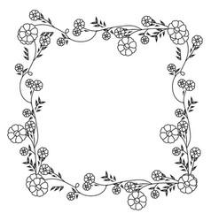 Monochrome contour with floral square wreath vector