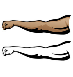 Muscular arm extended fist punch vector