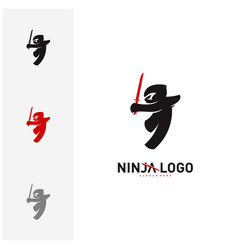 ninja warrior logo design template silhouette of vector image