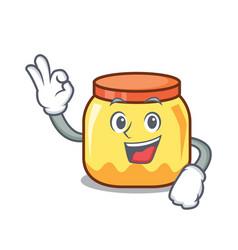 Okay cream jar character cartoon vector