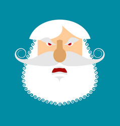 old man angry emoji senior with gray beard face vector image