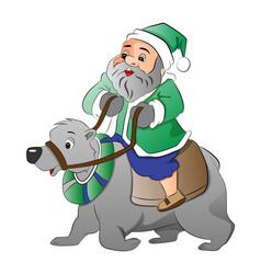 Old man riding a polar bear vector