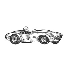 Old sport race car engraving vector