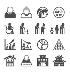 Older person icon set - aging society vector