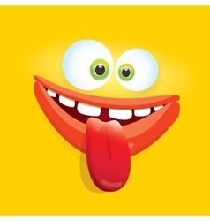 orange funny comic monster face vector image