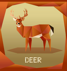 origami brown deer vector image