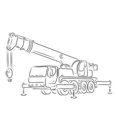 Outline of truck-mounted crane vector image