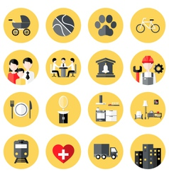 People Interests Flat Circle Icons Set over Yellow vector
