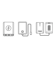 Phone power bank icon set outline style vector