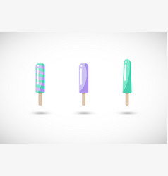 Popsicle flat icons set vector