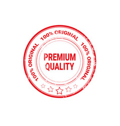 Premium quality seal red grunge label isolated vector
