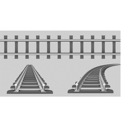 rails straight and turn railway vector image