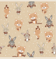 seamless pattern with cute bunny and bear in vector image