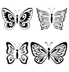 Set butterflies black pictograms vector