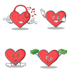 Set of heart character with listening music call vector