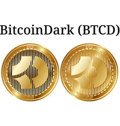 Set of physical golden coin bitcoindark btcd vector