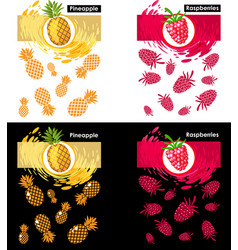 set template raspberry and pineapple fruits vector image