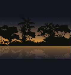 silhouette jungle with lake beauty landscape vector image