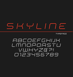 skyline decorative italic font design vector image