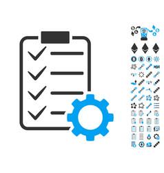 smart contract gear icon with bonus pictograms vector image
