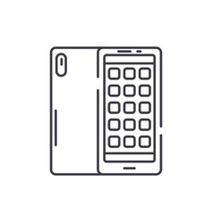 smartphone applications line icon concept vector image