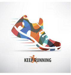Sneaker stylized symbol running concept vector