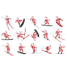 snowboarding santa claus skiing vector image