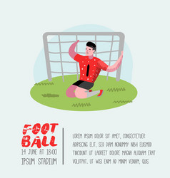 soccer cartoon player poster football player vector image