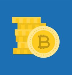 Stack bitcoin flat icon vector