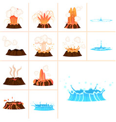 Stages of volcanic eruption and water splash set vector