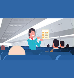 Stewardess explaining for passengers instructions vector
