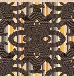 striped vintage floral 3d seamless pattern vector image