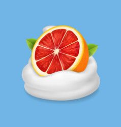 the ripe grapefruit in whipped cream or yogurt vector image