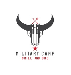 Two guns in form of bull skull military bbq vector