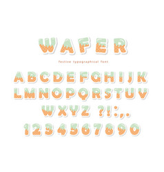 Wafer font cute sweet letters and numbers can be vector