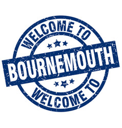 Welcome to bournemouth blue stamp vector