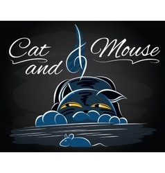 With cat that catches a mouse vector