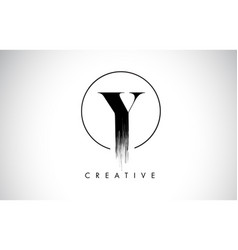 Y brush stroke letter logo design black paint vector