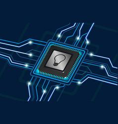 bulb symbol on computer processor vector image