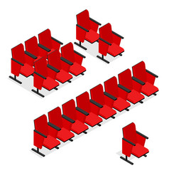 cinema or theater seats set isometric view vector image