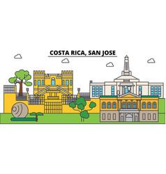 costa rica san jose outline city skyline linear vector image