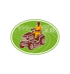 male gardener riding lawn mower vector image