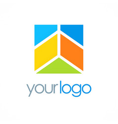 square geometry building business logo vector image