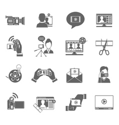 Video Blog Icons Set vector image vector image